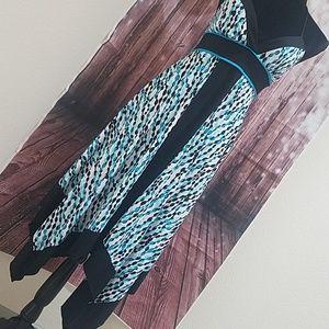 Speechless halter dress with assymmetrical fall